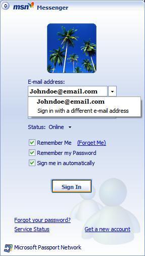 Sign into MSN Messenger