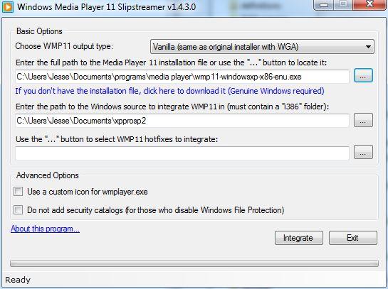 Slipstream Windows Media Player 11